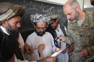 Lt. Col. Mark Reynolds helps test a local Afghan man's vision with a visual acuity chart during a Village Medical Outreach Program in Herat province, Afghanistan, Sept. 27, 2011. The program was conducted to make inexpensive glasses available to men, women and school children in the village.