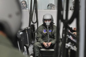 Tech. Sgt. Daniel Kilbride, an aerospace physiology technician with the 779th Aerospace Medicine Squadron, briefs a class before the flight in the altitude chamber at Andrews Air Force Base, Md., on Sep. 1, 2009. The altitude chamber is a training requirement for all personnel on flying status that ensures they can recognize the symptoms of hypoxia and hypobaria. (U.S. Air Force photo by Staff Sgt. Renae L. Kleckner)