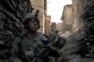 100925-A-3603J-130<br /> U.S. Army soldiers with 1st Battalion, 102nd Infantry Regiment, 86th Brigade Combat Team, Task Force Iron Gray cordon and search Masamute Bala in Laghman province, Afghanistan, as they provide security on Sept. 25, 2010. DoD photo by Spc. David A. Jackson, U.S. Army. (Released)