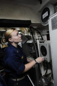 110913-N-DU438-259<br /> ARABIAN SEA (Sept. 13, 2011) Ensign Caitlin Parks drives the ship from aft steering during a training drill aboard the guided-missile cruiser USS Gettysburg (CG 64). Gettysburg is deployed to the U.S. 5th Fleet area of responsibility conducting maritime security operations and support missions as part of Operations Enduring Freedom and New Dawn. (U.S. Navy photo by Mass Communication Specialist 3rd Class Betsy Knapper/Released)
