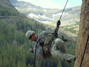 Cpl. Jose Pacheco, a soldier with Headquarters and Headquarters Company, 1st Battalion, 28th Infantry Regiment, 4th Infantry Brigade Combat Team, 1st Infantry Division, practices rappelling techniques during the basic-mobility portion of Mountain Exercise 08-11 at the Marine Corps' Mountain Warfare Training Center in Northern California's Toiyabe National Forest, Sept. 22. Pacheco and his fellow soldiers will use the technical skills they learn during basic-mobility to gain a tactical advantage over their adversaries during the subsequent force-on-force exercise.