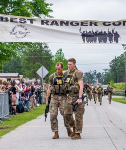 FORT BENNING, Ga. - After two full days and nights of events to test their stamina, technical prowess and mental acuity, 16 teams crossed the finish line April 14 at Camp Rogers here, concluding the Best Ranger Competition. (U.S. Army photo by Patrick Albright, Maneuver Center of Excellence, Fort Benning Public Affairs)