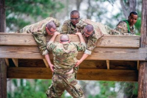 FORT BENNING, Ga. – Trainees from Foxtrot Company, 2nd Battalion, 19th Infantry Regiment, negotiate a confidence course on Sand Hill Feb. 27, 2019 at Fort Benning. The mission of the 2/19th Infantry Battalion is to transform civilians into disciplined Infantrymen. (U.S. Army photo by Patrick Albright, Maneuver Center of Excellence, Fort Benning Public Affairs)