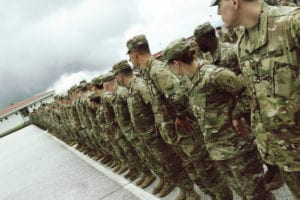 Soldiers of the 838th Military Police Company out of Youngstown, Ohio dress-right-dress during the Platinum Wolf opening ceremony June 3 at South Base in Serbia. The international exercise aims to enhance interoperability and mutual understanding among the members of partner and allied nations' armed forces for peace support operations. About 500 Soldiers are involved in the 2019 Platinum Wolf exercise.