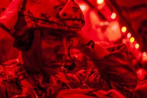 A Texas Army National Guard paratrooper assigned to the 1st Battalion, 143rd Infantry Regiment, 173rd Airborne Brigade prepares for a static-line jump on a Hawaii Air National Guard C-17 Globemaster III, June 14, 2019, over Boboc Drop Zone, Romania. The 173rd Airborne Brigade is the U.S. Army Contingency Response Force in Europe, capable of projecting ready forces anywhere in the U.S. European, Africa or Central Commands' areas of responsibility. Hundreds of Soldiers were airdropped by a formation of aircraft from Canada, Italy, Spain, NATO and the U.S. for exercise Swift Response 19. The training events of Swift Response are held to enable regional partners to respond more effectively to regional crises and meet their own national defense goals. (U.S. Air National Guard photo by Senior Airman John Linzmeier)