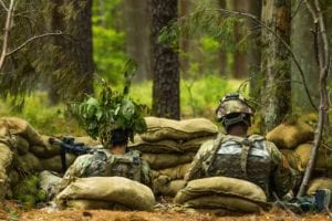 U.S. Soldiers assigned to the 753rd Quarter Master Company out of Green Bay, Wisconsin set up security behind sand bags during Combat Support Training exercise (CSTX) on Joint Base McGuire-Dix-Lakehurst NJ, June 15, 2019. CSTX 78-19-02 is a Combat Support Training Exercise that ensures Army Reserve units are trained and ready, and bring capable, combat-ready, and lethal firepower in support of the Army and our joint partners anywhere in the world. (U.S. Army photo by Pfc. Jorge Reyes)