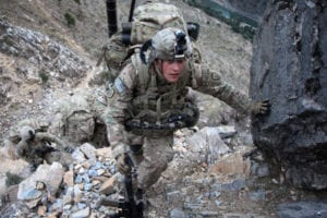 U.S. Army Spc. Daniel Hatfield, from 1st Platoon, Charlie Company, 2nd Battalion, 27th Infantry Division, Task Force No Fear, climbs a hill while conducting a patrol from Outpost Mace to Outpost Fawlad, during Operation Toufan Fawlad, in the Naray district, Kunar province, Nov. 17, 2011. U.S. soldiers of Charlie Company, 2nd Battalion, 27th Infantry Division, Task Force No Fear, are building watch positions to enable the ANSF to re-establish OP Fawlad.