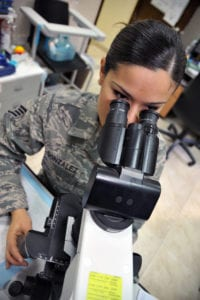 Staff Sgt. Lluvia L. Gonzalez performs a microscopic urinalysis as part of her duties as a medical laboratory technician Nov. 8, 2011, at the 386th Expeditionary Medical Group, in Southwest Asia. (U.S. Air Force photo/Master Sgt. Carlotta Holley)