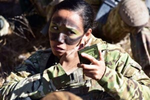 U.S. Army Capt. Julissa Myers, Paratrooper assigned to the 173rd Brigade Support Battalion, 173rd Airborne Brigade, puts the finishing touches to her face paint camouflage in preparation a blank-fire exercise as part of Lipizzaner V at Pocek Range in Postonja, Slovenia, Mar. 12, 2019. Lipizzaner is a combined squad-level training exercise in preparation for platoon evaluation, and to validate battalion-level deployment procedures. The 173rd Airborne Brigade is the U.S. Army Contingency Response Force in Europe, capable of projecting ready forces anywhere in the U.S. European, Africa or Central Commands' areas of responsibility. (U.S. Army photo by Paolo Bovo)
