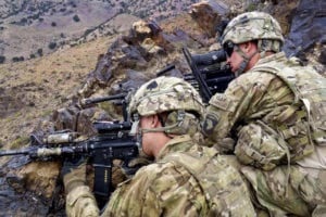 Soldiers from Company C, 1st Battalion, 506th Infantry Regiment, 4th Brigade Combat Team, 101st Airborne Division, Task Force Currahee, pull security from the top of a mountain in Paktika province during Operation Surak Basta III on June 23. The operation was to infiltrate near the Afghanistan-Pakistan border in order to stop enemy fighters from entering into Afghanistan.
