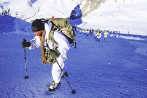 Day two of Exercise Alpini Climb concludes with Sky Soldier leaders hiking to over 2600 meters above sea level and digging temporary snow shelters to face the frigid night in Passo del Tonale, Italy on December 11, 2018.