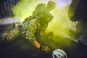 A U.S. Army paratrooper assigned to 2nd Battalion, 503rd Infantry Regiment, 173rd Airborne Brigade, emplaces a braizer charge during Exercise Rock Spring 19 at Grafenwoehr Training Area, Germany, on March 6, 2019.