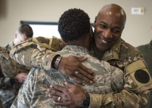 Chief Master Sgt. of the Air Force Kaleth O. Wright greets one of his former Airmen, Tech. Sgt. Amanda Taylor, 726th Operations Group command support staff superintendent, during a base tour Oct. 19, 2018, at Nellis Air Force Base, Nev. Wright and Taylor were stationed together at Osan Air Base, South Korea, between 2007 and 2008 where they played basketball together. (U.S. Air Force photo by Airman 1st Class Andrew D. Sarver)