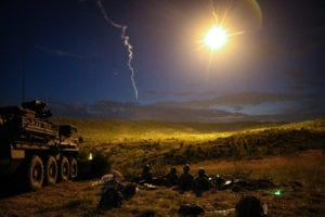 Soldiers from Alpha Company, 1st Battalion, 111th Infantry, 56th Stryker Brigade Combat Team conduct a night live-fire iteration of a Combined Arms Live Fire Exercise during Exercise Decisive Strike 2019 at the Training Support Centre, Krivolak, North Macedonia, June 11, 2019. Combined training enables allies and partners to respond more effectively to regional crises and meet their own national defense goals. (U.S. Army photo by Staff Sgt. Frances Ariele Tejada)
