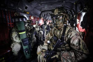 Paratroopers assigned to 2nd Battalion, 503rd Infantry Regiment, 173rd Airborne Brigade, prepare to exit a CH-47 chinook helicopter during Exercise Rock Spring 19 at Grafenwoehr Training Area, Germany, on March 6, 2019.