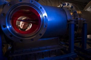 Cadet 2nd Class Eric Hembling uses a Ludwieg Tube to measure the pressure, temperature, and flow field of various basic geometric and hypersonic research vehicles at Mach 6 in the U.S. Air Force Academy's Department of Aeronautics, Jan. 31, 2019. (U.S. Air Force photo by Joshua Armstrong)