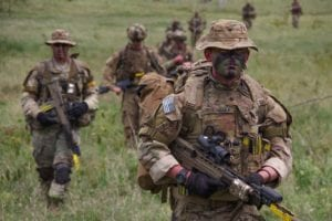 Paratroopers from 1st Battalion, 508th Parachute Infantry Regiment conduct a training patrol alongside British paratroopers of 2PARA, 16 Air Assault Brigade on November 28, 2018 in Kenya, Africa. The training scenario was part of Operation Askari Storm, a multinational training exercise occurring in Kenya, Africa between U.S., British and other partner-nation forces. The training focuses on increasing the readiness and interoperability of the participating forces while placing them in tough, realistic scenarios against simulated near-peer adversaries.