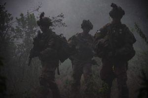 Paratroopers from 1st Battalion, 508th Parachute Infantry Regiment conduct a training patrol alongside British paratroopers of 2PARA, 16 Air Assault Brigade on November 27, 2018 in Kenya, Africa. The training scenario was part of Operation Askari Storm, a multinational training exercise occurring in Kenya, Africa between U.S., British and other partner-nation forces. The training focuses on increasing the readiness and interoperability of the participating forces while placing them in tough, realistic scenarios against simulated near-peer adversaries.