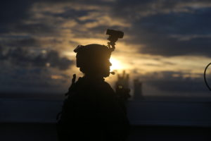 U.S. Marine Lance Cpl. Steven Rowe with 3rd Reconnaissance Battalion, 3rd Marine Division, posts security during a Visit, Board, Search, and Seizure training as part of exercise HYDRACRAB, Santa Rita, Guam, Aug. 27, 2019. HYDRACRAB is a multilateral exercise conducted by U.S. Marines and Sailors with military service members from Australia, Canada, and New Zealand. The purpose of this exercise is to prepare the participating explosive ordnance disposal forces to operate as an integrated, capable, and effective allied force ready to operate in a changing and complex maritime environment throughout the Indo-Pacific region. (U.S. Marine Corps Photo by Kelly Rodriguez)