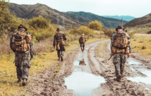 U.S. Marines assigned to 1st Air Naval Gunfire Liaison Company, I Marine Expeditionary Force Information Group, I Marine Expeditionary Force, participate in a foot patrol during a brigade platoon field exercise on Marine Corps Base Camp Pendleton, California, April 7, 2020. The purpose of this exercise was for Marines to sustain and enhance basic warfighting skills such as land navigation, day and night patrolling, and long range communication capabilities. (U.S. Marine Corps photo by Sgt. Manuel A. Serrano)