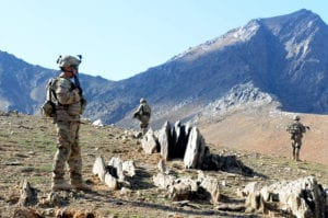 Soldiers with A Troop, 1st Squadron, 13th Cavalry, stand guard while on patrol in Wardak province, Afghanistan, Nov. 12. Deployed from Fort Bliss, Texas, the soldiers are working with Afghan security forces to build stability in the region.